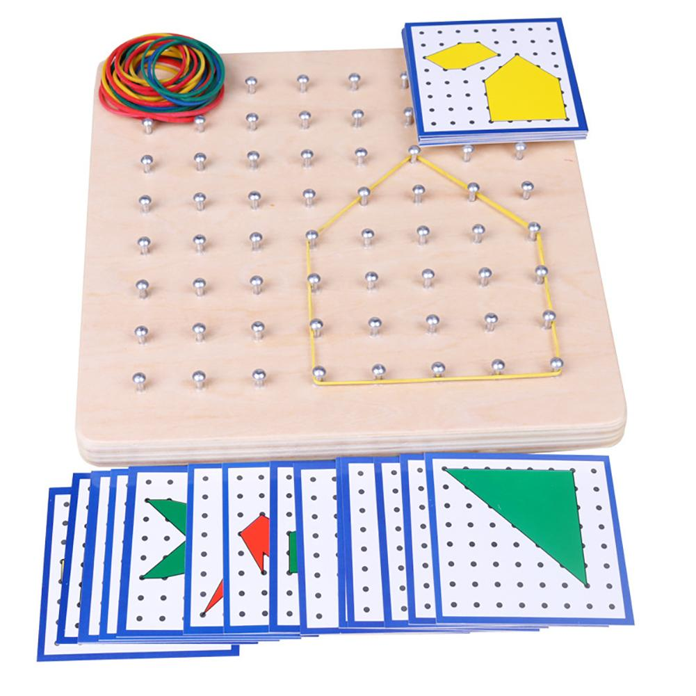 Wooden Graphics Rubber Tie 64 Nail Geoboard with Cards Math Learning Education ChildrenToy Kids Gift New