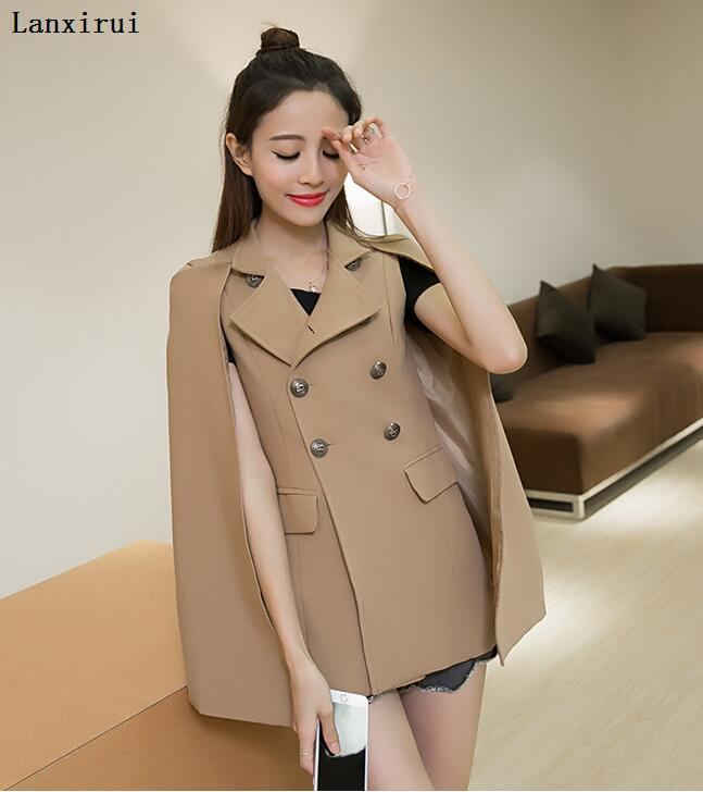 Spring  New Women 'S Clothing Han Edition Cape  Coat In Europe And The Cape Coat Short Paragraph Cape Coat Female