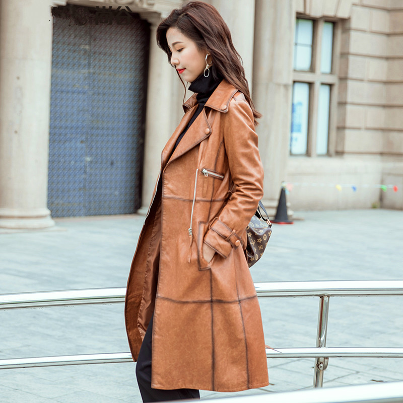 Genuine Leather Jacket Women Real Sheepskin Leather Trench Coat Spring Autumn Long Windbreakers 2020 1715-030 MF366