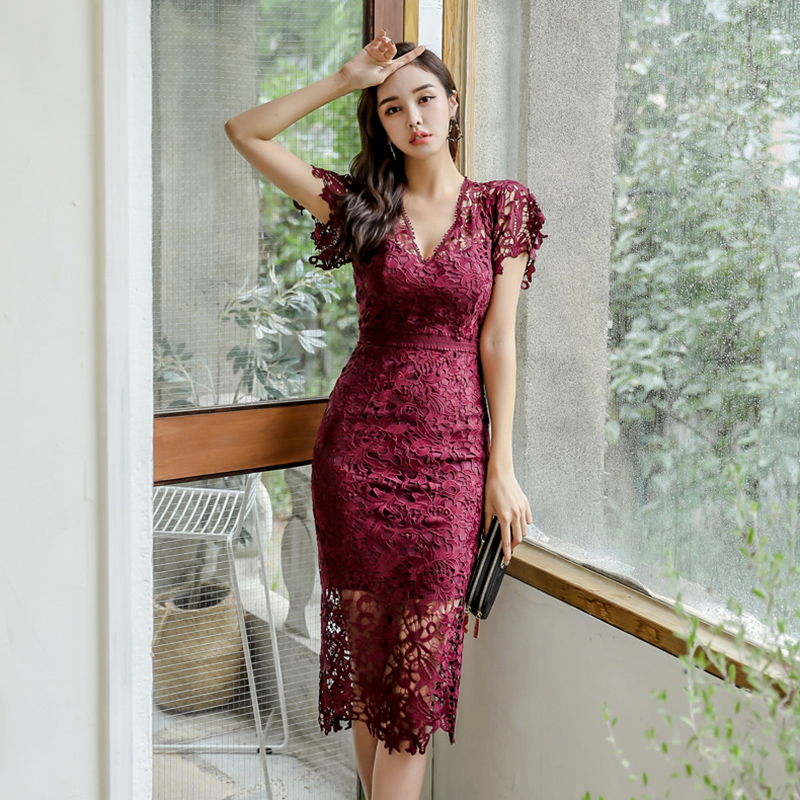 Woman Pencil Dress For Office Bodycon  Vestidos Mid-length Dress Trend 2020  Lace Sexy Dresses for party