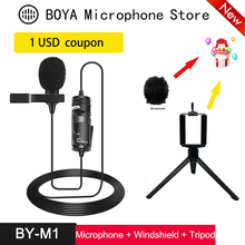 Microfone boya BY-M1 6m clip-on mini áudio 3.5mm colar condensador lapela microfone para gravação canon/iphone dslr câmeras