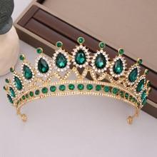 Luxo verde strass cristal casamento coroa noiva tiaras e coroas rainha diadem pageant coroa nupcial acessórios de jóias de cabelo