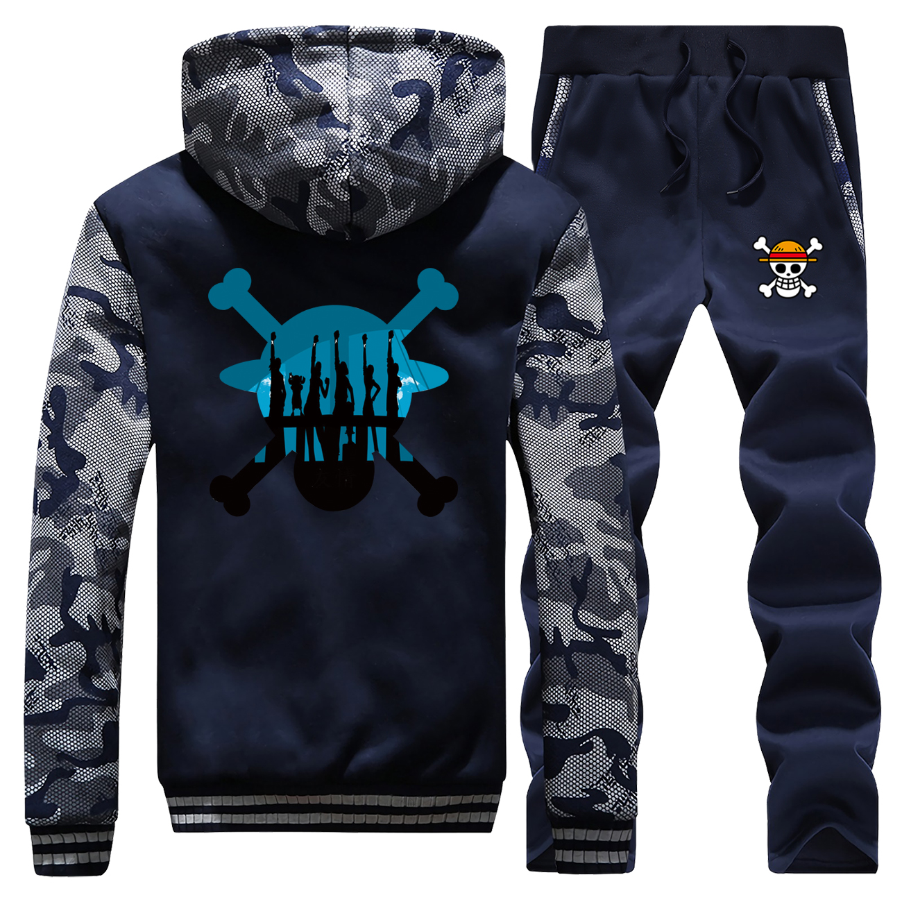 One Piece Thick Jacket Japanese Anime Harakuku Fashion Luffy Warm Tracksuit Camo Male Set Men Warm Fleece Men's Casual Warm Sets
