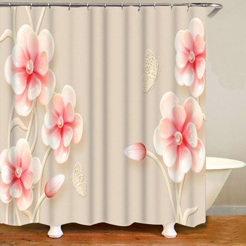 Elegant Flowers with Pearls Peacock 3D Bathroom Curtain Set Floral Flower Pattern Shower Curtain for Bathtub Classic Shop