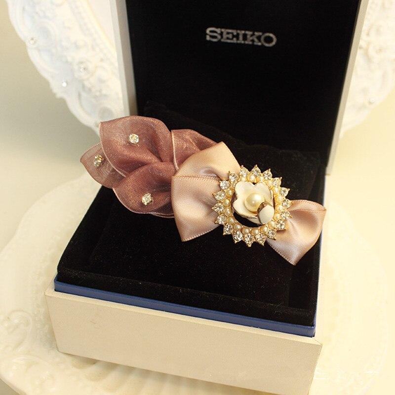 Купить с кэшбэком Fashion Pure Manual Butterfly Clips Bow Leaf Hairpin Clamp Women Rhinestone Snap Hair Clips Pearl Diamond Headwear
