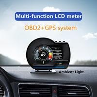 HUD OBD GPS dual system turbo boost oil pressure temperature gauge for car Afr RPM Fuel level Speed EXT Oil Meter