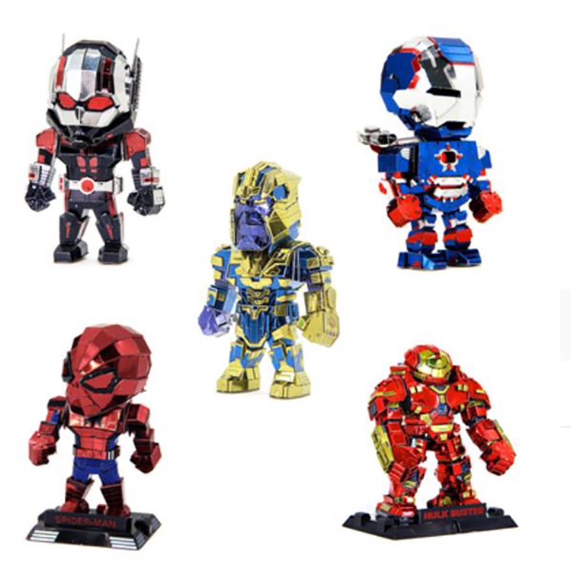 QUINEE OX Metal Assembly Model DIY 3D Puzzle Marvel Heroes Fighter Spider-Man Iron Man Captain America.