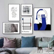 Винтажный абстрактный минималистичный человеческий синий хери