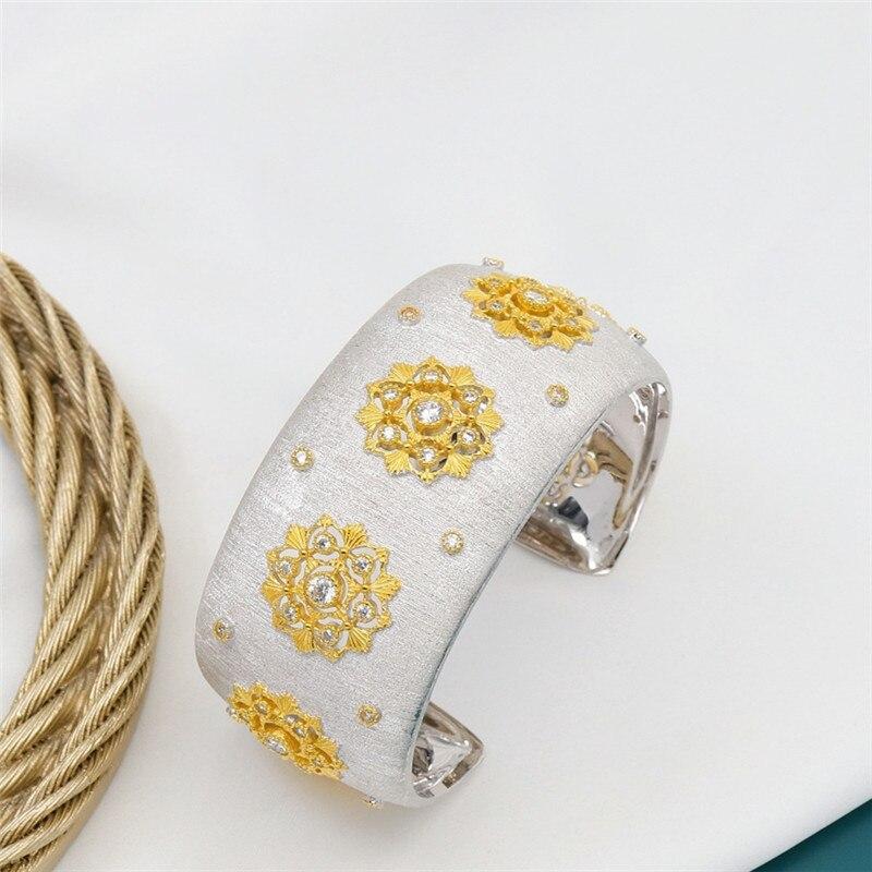 CMajor S925 Sterling Silver Fine Jewelry Delicate Temperament Flower Shape Wide Cuff Bangles for Women Valentine's Day Gift - 5
