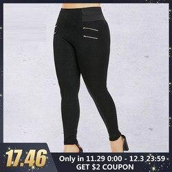 Rosegal Plus Größe Zips Verschönert Elastische Taille Leggings Frauen Hosen Beiläufige Schwarze Lange Bleistift Hose Hose Weibliche Leggings 5XL