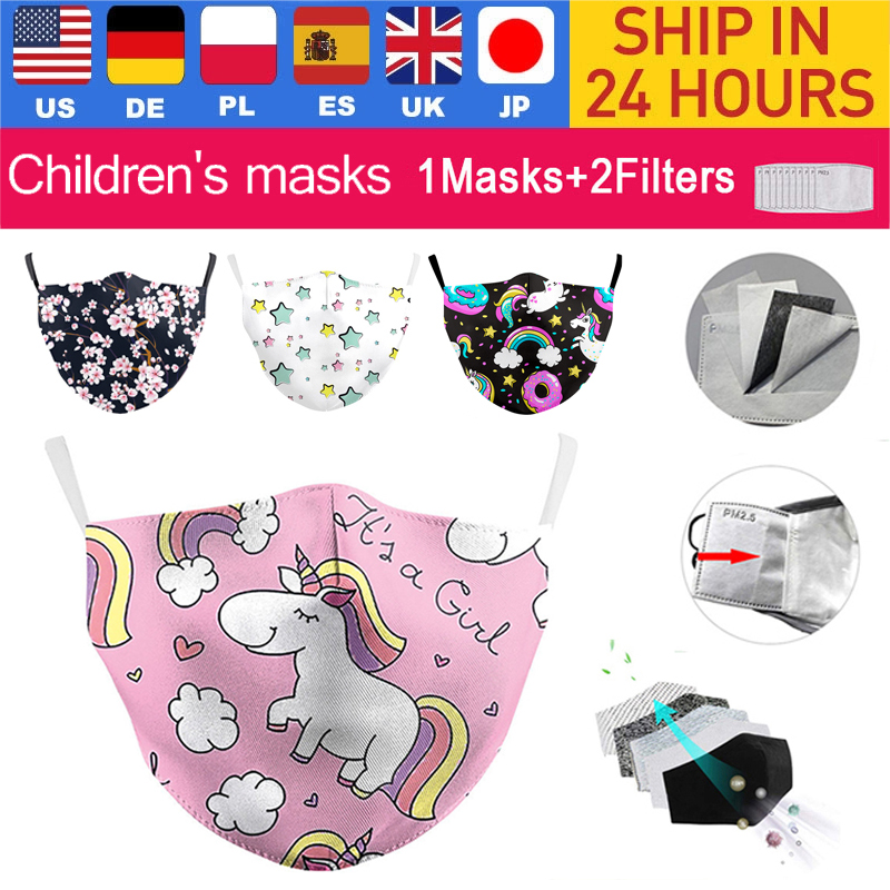 С мультипликационным принтом «Единорог»); Детский Пижамный костюм, маска милые розового цвета с рисунком в виде маски для лица многоразовый...