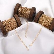 1 m/lote 14k correntes de ouro feminino diy jewerly acessórios pendients, corrente de cobre feminino colar pulseira brinco cabeleireiro fazendo