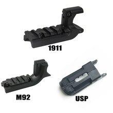 Airsoft 1911/m1911/m92 45/9mm usp pistola picatinny 20mm sob trilho adaptador montagem a laser acessórios