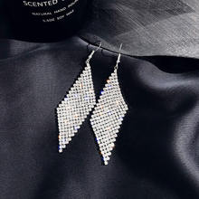 Женские серьги подвески с кристаллами ustar золотистые и Серебристые