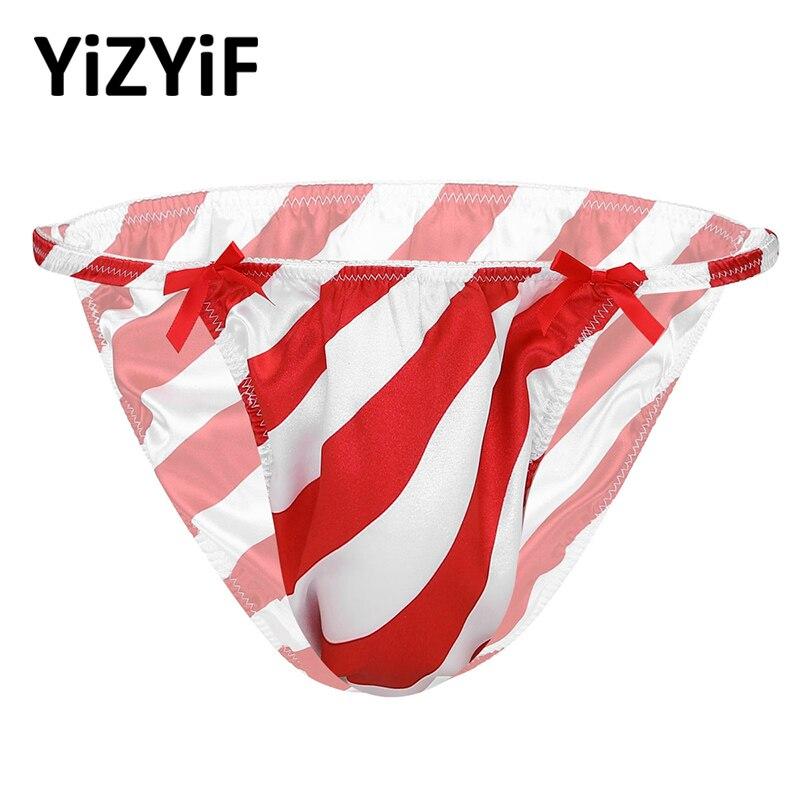 Christmas Bikini Thong Men Shiny Satin Briefs Underwear Red&White Striped Low Rise Sissy Panties Sting Thong Swimwear Nightwear