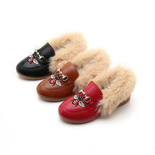 Children Shoes 2019 Autumn Winter First Walker Fur Fashion Hairy Girls Single Shoes Casual Princess Shoes Baby Boy Girls Shoes cheap EFKGH Unisex Rubber Fits true to size take your normal size Flat with 14T