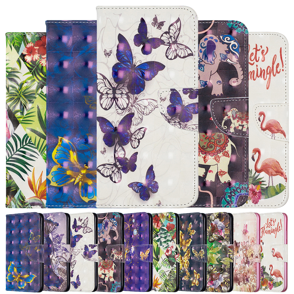3D Pattern Wallet <font><b>Case</b></font> For <font><b>Samsung</b></font> Galaxy S10 S9 S8 Note 10 Plus S10e A70 A50 A30 <font><b>A10</b></font> A20E Cover PU Leather Kickstand <font><b>Flip</b></font> <font><b>Case</b></font> image