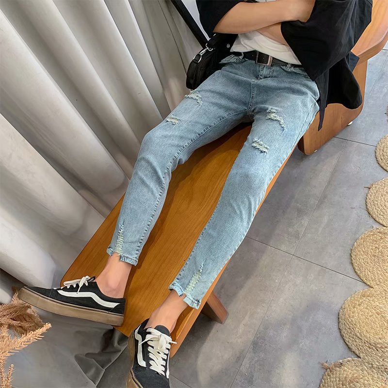 Summer 9 Capri Elasticity Jeans Men Korean-style Slim Fit With Holes Skinny Pants Fashion Men'S Wear MEN'S Trousers Ripped Jeans