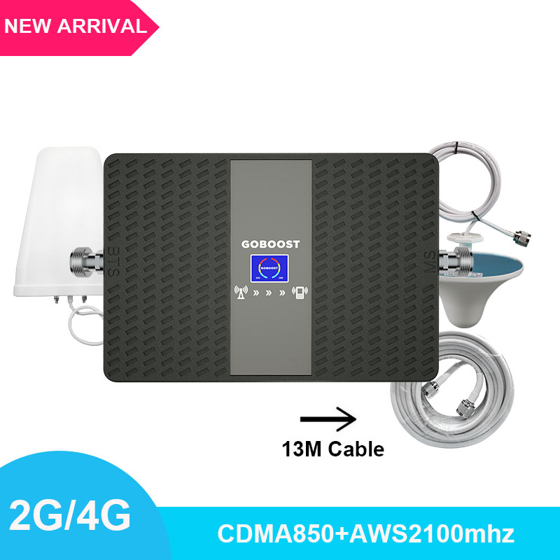 Signal Booster 3g 4g Mobile Signal Amplifier CDMA850+AWS2100mhz Cellular Phone Dual Band Signal Repeater With LDPA Antenna Set