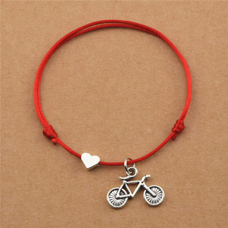 Punk Sports Outdoor Cycling Bicycle Charm Heart Red Cord Bracelets for Women Men Lover Bike Pendant Jewelry Mountain Biker Gifts|Charm Bracelets| - AliExpress