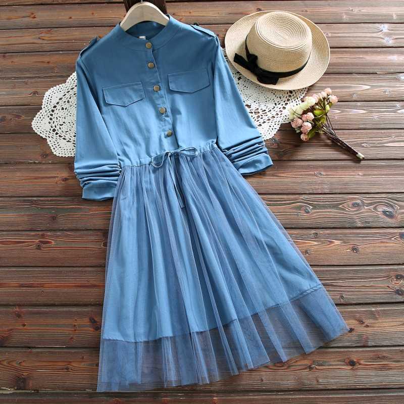 Синий, розовый японский студенческий стиль Mori Girl Kawaii платье Весна Осень Женские газовые сетчатые платья с длинными рукавами s-xxl