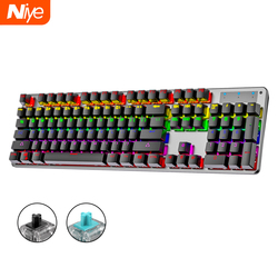 Mechanical Keyboard Gaming Kit Black Blue Switch Wired PC Gamer RGB Backlight Computer Gaming PC Keyboards Backlit Game Rainbow