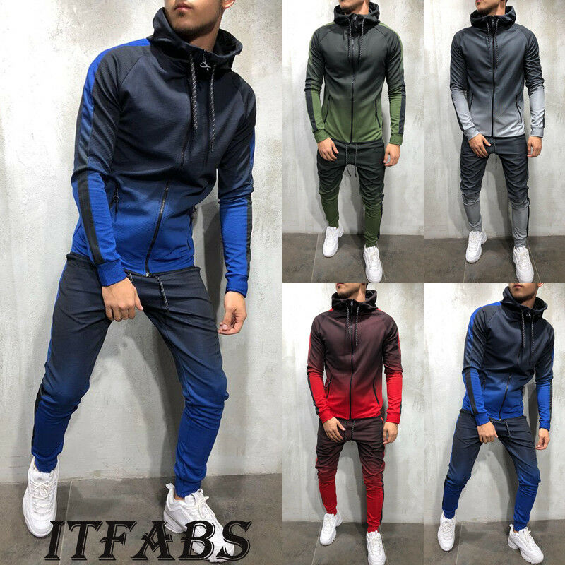 New Fashion Men Tracksuit Sets Hoodie Sweatsuit Slim Fit Joggers Gym Color Gradient Suit