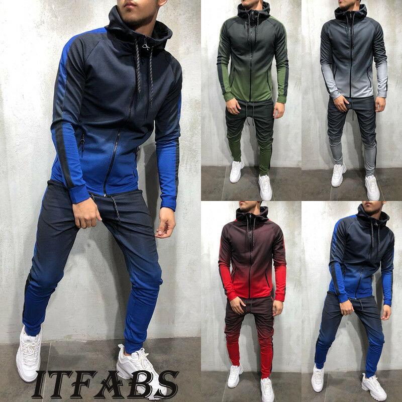 New Fashion Men Tracksuit Sets Hoodie Sweatsuit Slim Fit Joggers Gym Color Gradient Suit