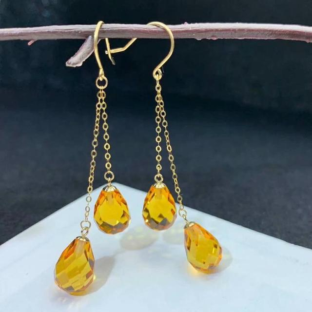 shilovem 18k yellow gold citrine drop earrings  fine Jewelry women party new classic plant  gift 8*11mm myme0811222j 1