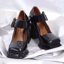 Rimocy Fashion Square Toe Mary Jane Platform Shoes Women Black Ankle Strap High Heels Pumps Woman Patent Leather Chunky Shoes