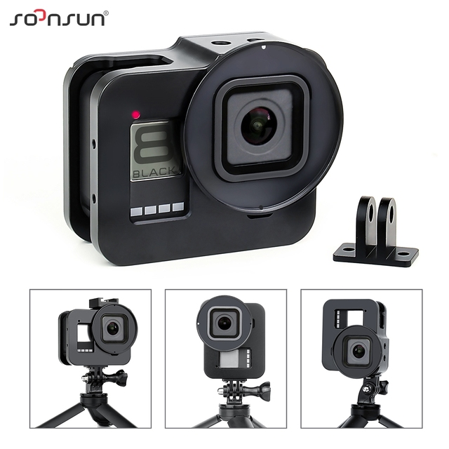 SOONSUN Aluminum Alloy Multi angle Shooting Cage Protective Frame Case Mount with 52mm UV Lens Filter for GoPro Hero 8 Black