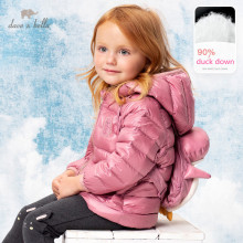 DBS15401 dave bella winter baby girls down bow cartoon coat children 90% white duck down padded kids jacket with small backpack