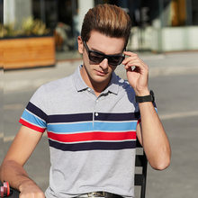 Polo de marque pour hommes, manches courtes, grande taille, vêtements rayés, de styliste, de haute qualité, régulier, de luxe, à la mode, été 2020