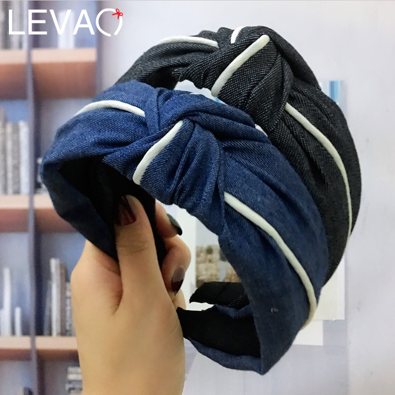 Levao 2019 New Style Blue Jeans Hairband for Women Hair Accessories Simple Fashion White Border Cross Knot Female Headband Party
