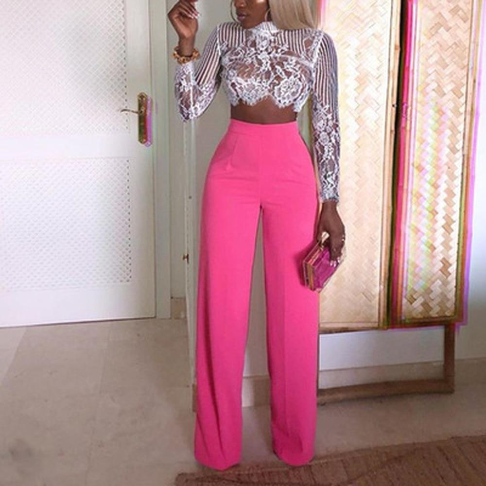 ZOGAA Women Wide Leg Pants Casual Solid High Waist Straight Pants Female Loose Trousers Full Length Dress Womens Pants Clothing