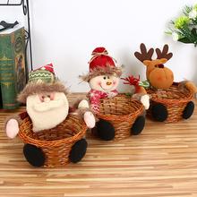 Boże narodzenie słodycze kosz ekologiczny bambusowy kosz do przechowywania ze ślicznym mikołajem lalka łoś bałwan 2020 nowy rok dekoracji prezent tanie tanio CN (pochodzenie) Żywności BAMBOO Candy Storage Basket Ekologiczne Zaopatrzony 18x18cm
