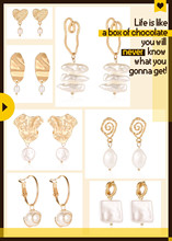 Asian Fashion Simple Gold Earrings Personalized Pearl Hot Sale Drop Jewelry