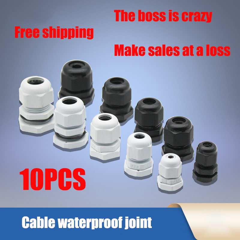 waterproof-cable-gland-10pcs-cable-entry-ip68-pg7-for-3-65mm-pg9-pg11-pg135-pg16-pg19-21-white-black-nylon-plastic-connector