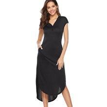 Women Summer Dress 2019 Plain Color Sleeveless Dress With Pocket Midi Button Backless Sundress Female Vestidos