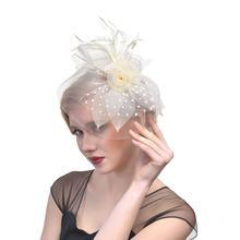 Женская шляпа федора с перьями сетчатыми лентами и зажимом