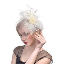 Fascinators Hat Women Flower Mesh Ribbons Feathers Fedoras Headband or a Clip Cocktail Tea Party Headwewar for Girls Y826