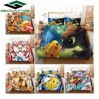 GOANG Bedding 3d digital printing cartoon Pikachu Bedding set kids home textiles high quality duvet cover pillowcase hot Sell