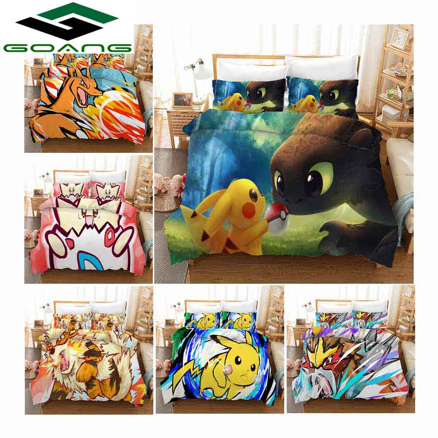 GOANG Bedding 3d digital printing cartoon Pikachu Bedding set kids home textiles high quality duvet cover pillowcase hot Sell