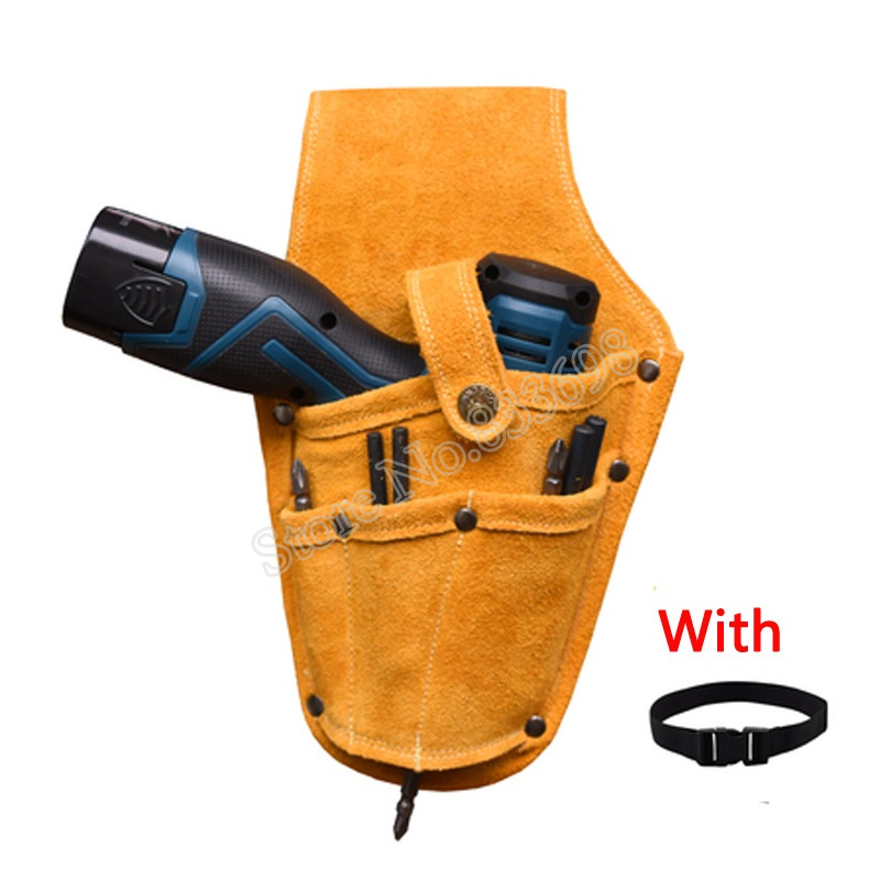 Image 3 - Cowhide Wearable Waist Pack Electric Drill Bag Screws Nails Drill Bit Metal Parts Fishing Travel Tool Storage Bags with BeltTool Bags   -