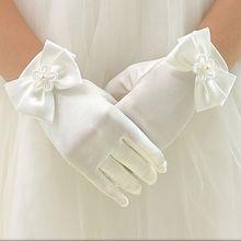 1 пара сладкий цветок девочки шорты перчатки бант сплошной цвет мягкий детский детский модный элегантный перчатки варежки