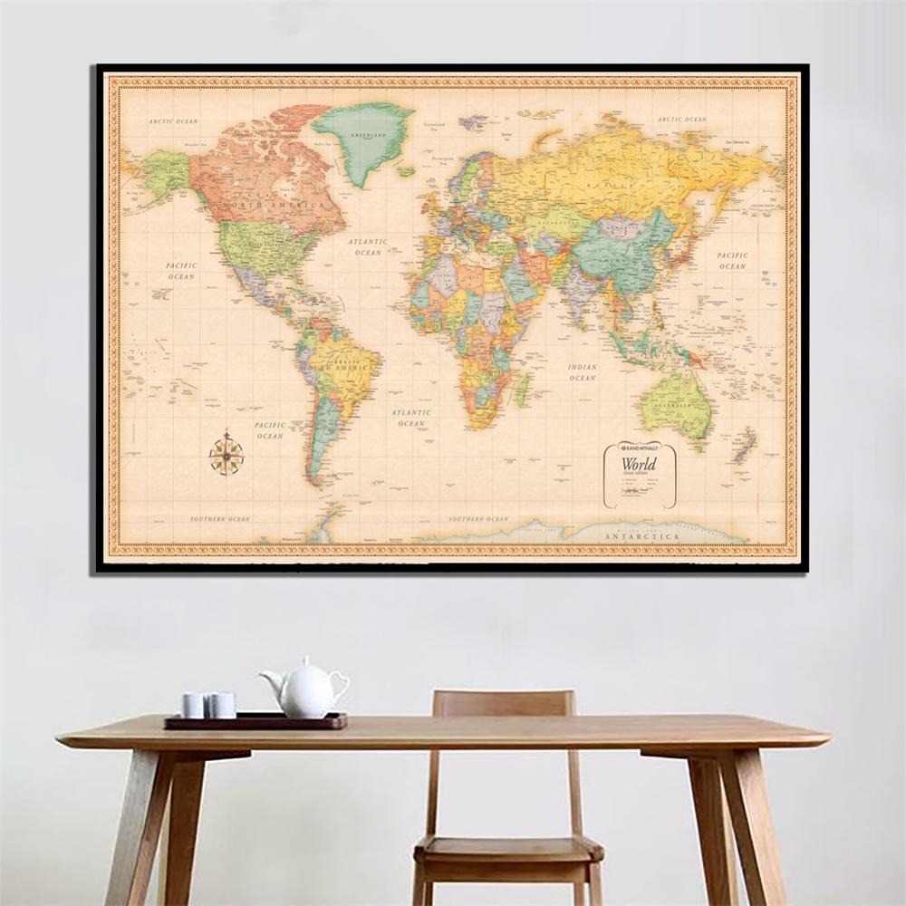 A2 Size Retro World Map Classic Edition HD Printed Fine Canvas Wall Map For Office/Living Room Wall Decor