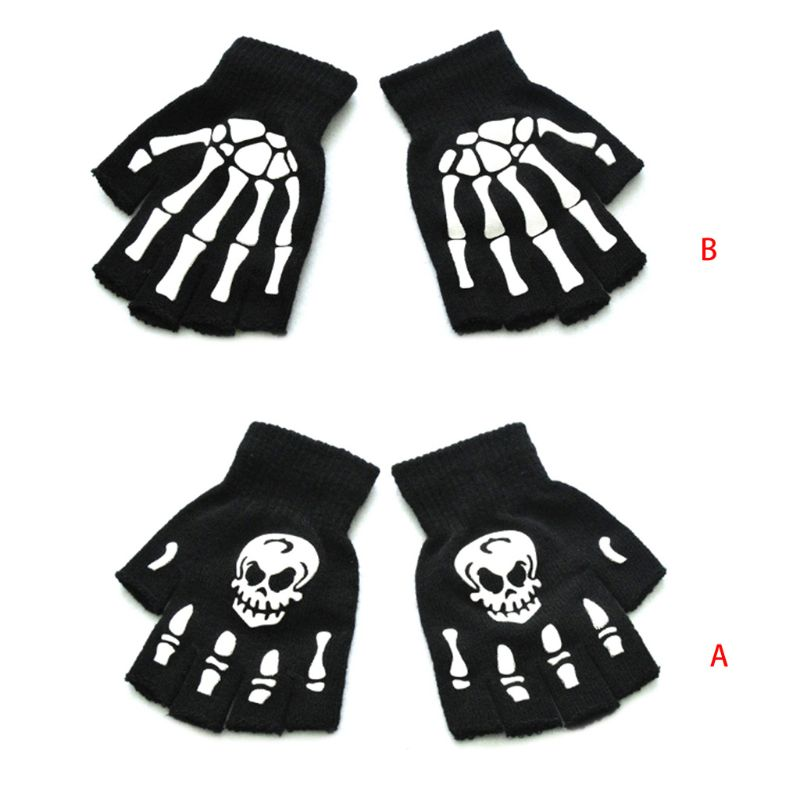 Kids Halloween Cosplay Skeleton Half Finger Gloves Luminous Fingerless Mittens Winter Hand Warmer