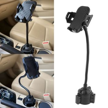 Universal Car Cup Mount Mobile Phone Holder Stand Adjustable Gooseneck Cradle for iPhone 5/6/7/8 Plus XR XS 3.5-7