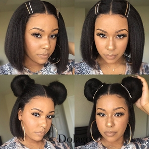 Kinky Straight 13x6 Lace Front Human Hair Wigs 180 Density Coarse Yaki Brazilian Short Bob 360 Lace Frontal Wig Dolago Full(China)