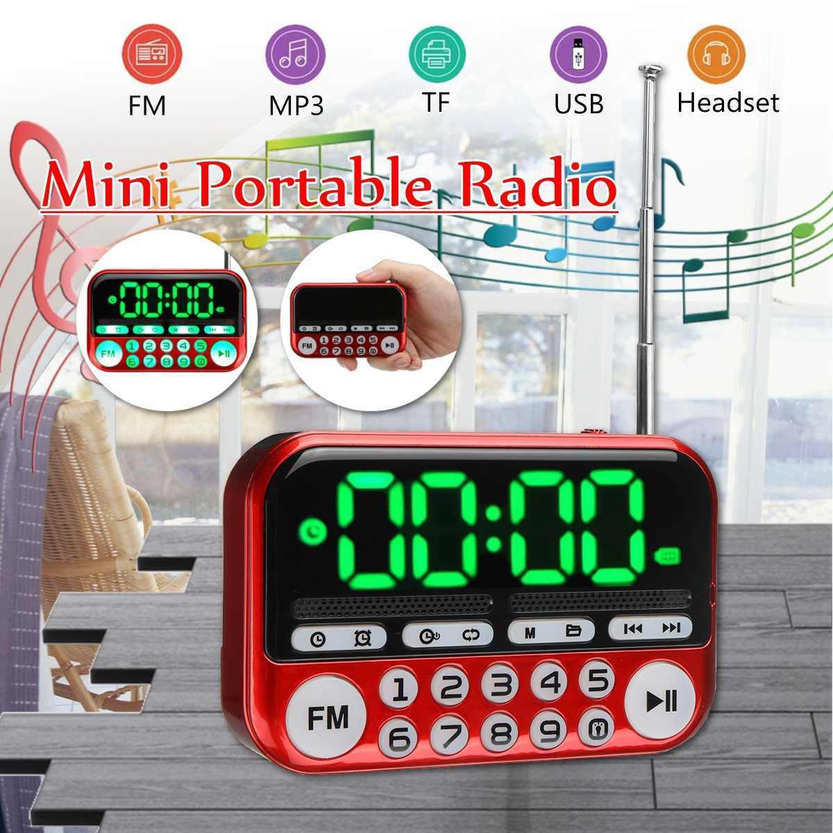 ポータブルデジタルディスプレイ FM ラジオ TF カード USB MP3 音楽プレーヤー時計警報ラジオスピーカー